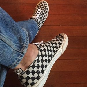 Checkered Vans off the wall